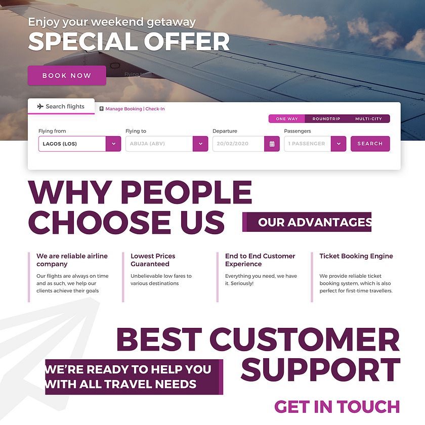 Web design for ValueJet airlines