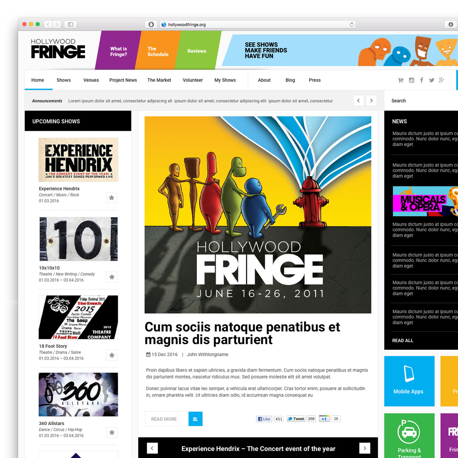 Web design proposal for Fringe Festival website