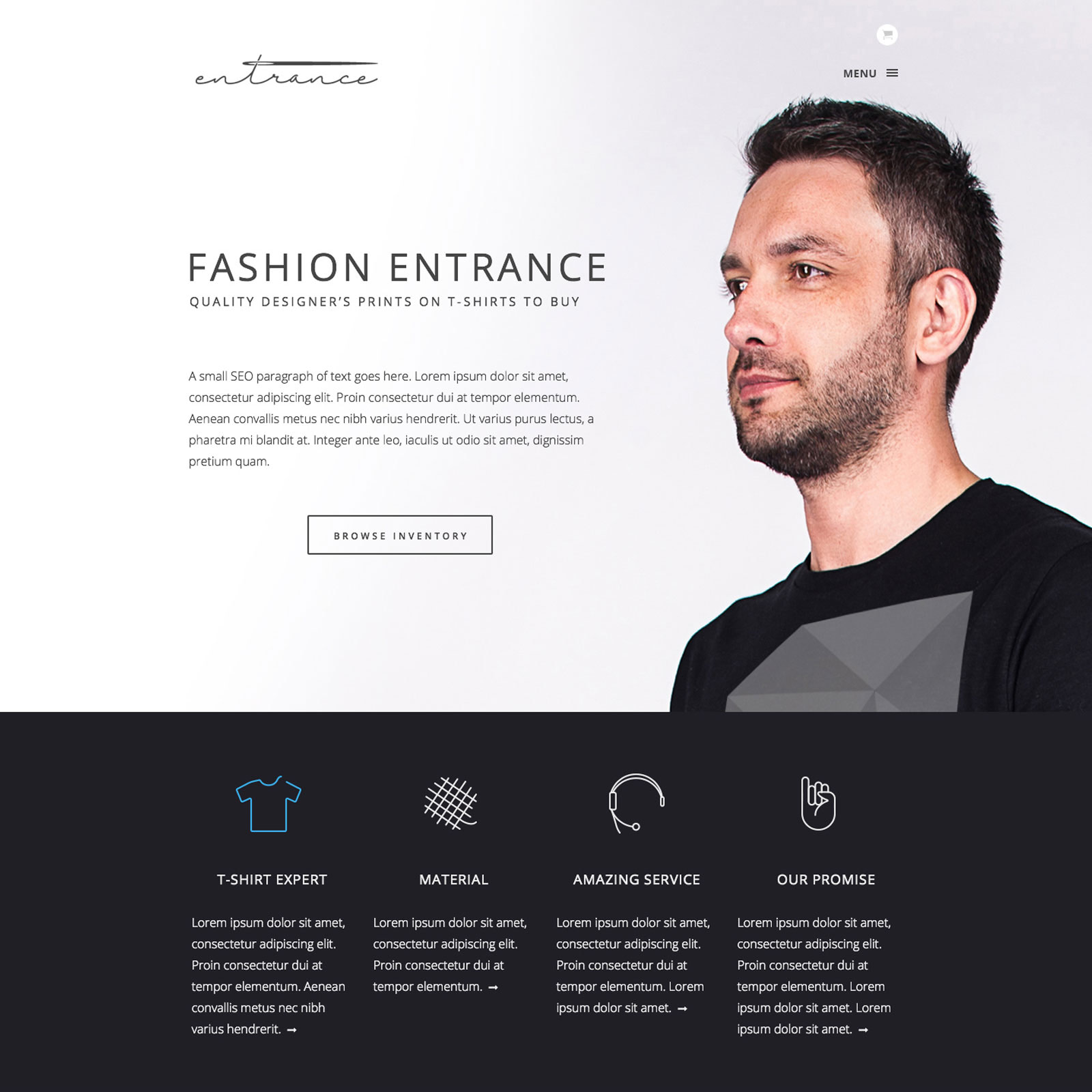 Web design for Fashion Entrance