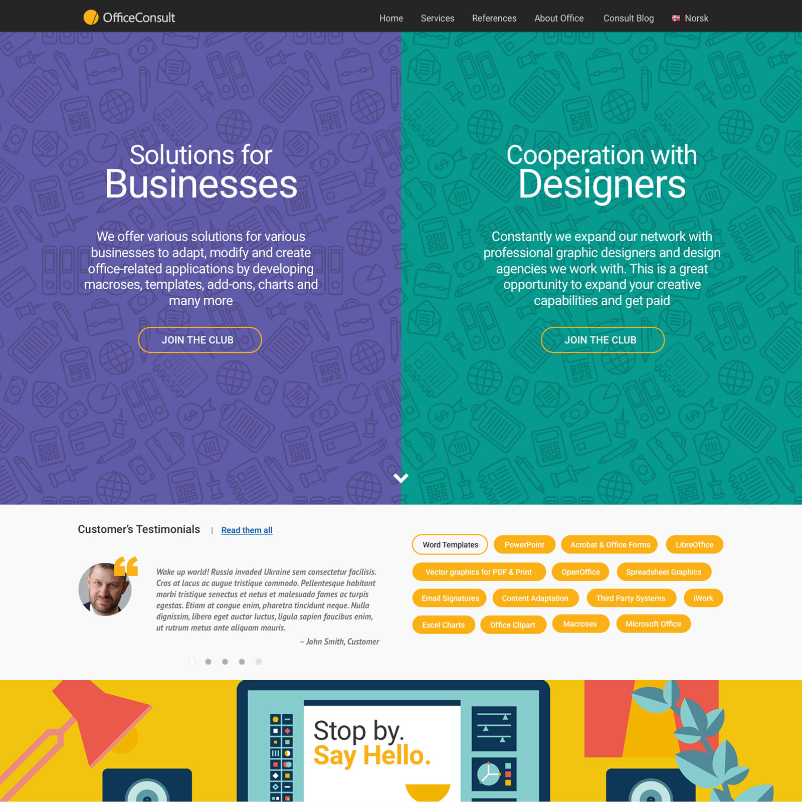 Web design proposal for OfficeConsult