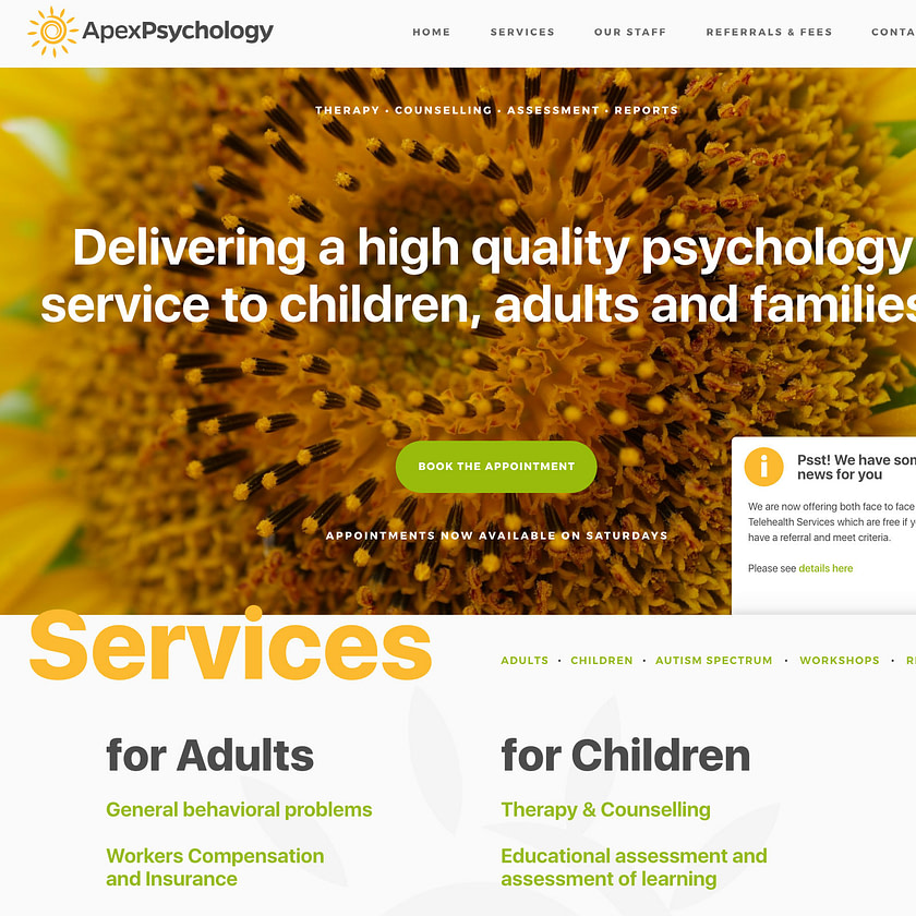 Web design proposal for psychology clinic