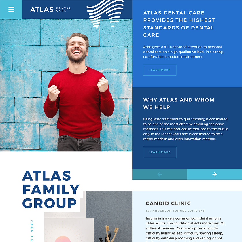Dental acquiring company web design concept