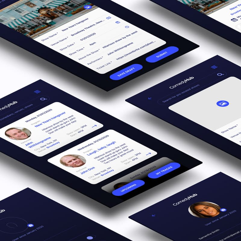 UI App design for comedy and venue aggregator